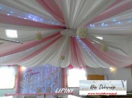dekoracja sali w Lipinach-róż pudrowy + biel