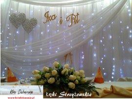 Łęki Strzyżowskie -dekoracja krem+ biel